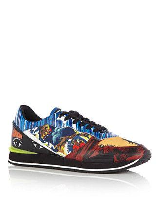 Stoere Kenzo Sneaker Crazy van leer en textiel (Multicolor) Sneakers van het merk Kenzo voor Heren . Uitgevoerd in Meerdere kleuren gemaakt van Leer|textiel.
