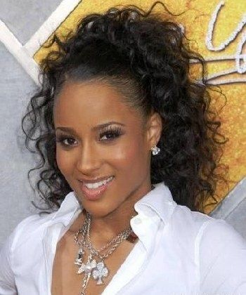 Stupendous Long Weave Ponytail Styles Work At Her Ciara Curly Weave Short Hairstyles For Black Women Fulllsitofus