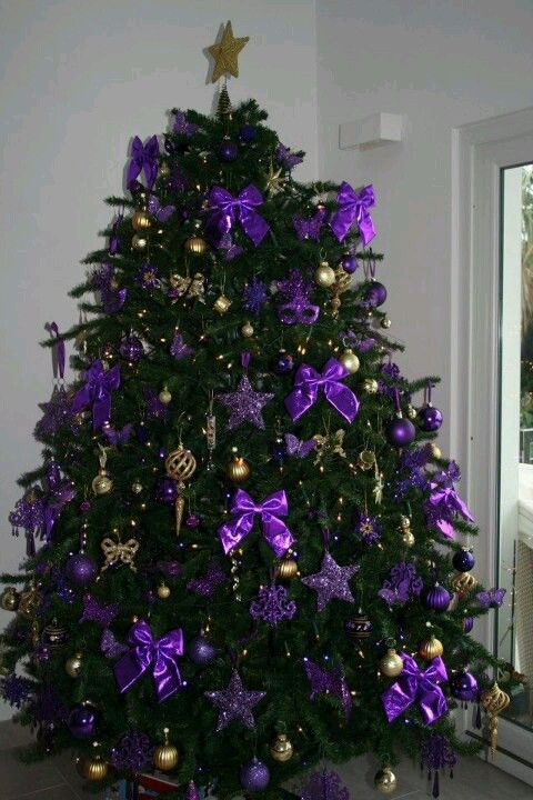Christmas Purple And Gold Christmas Tree Use Silver Bows
