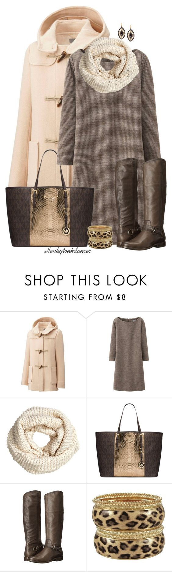 """""""Duffle Coat"""" by honkytonkdancer ❤ liked on Polyvore featuring Uniqlo, H&M, MICHAEL Michael Kors, Frye, michaelkors, fryeboots, sweaterdress and dufflecoat"""
