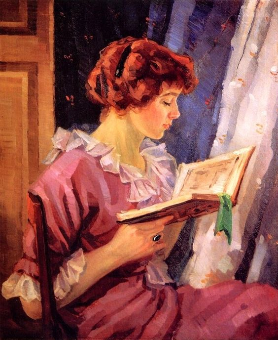 .. Woman in Profile Reading (c.1915). Oscar Fehrer (American, 1872-1958). Oil on canvas.In 1895, Fehrer traveled to Munich and studied at the Royal Academy until 1897. Following his stay in Munich, Fehrer resided in Paris and studied at the Academie Julian where he was awarded an honorable mention for his work. Having sharpened his skills as a painter at these German and French schools of art, Fehrer returned to America in 1900 and established a studio in New York City.: