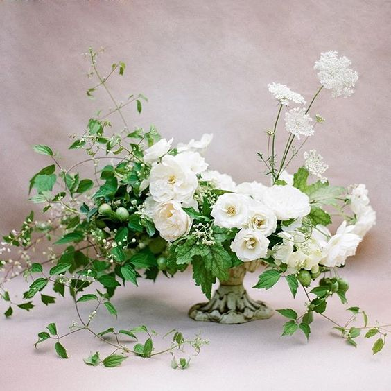 Lovely white-and-green centerpiece: