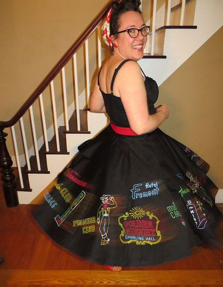 """For this year's Viva Las Vegas, I decided that I wanted to make a skirt  with a Las Vegas theme. I've always loved the novelty circle skirts from  the 1950's, but the actual vintage ones are often quite expensive.  I first made the skirt from a circle skirt pattern I drafted from the  directions, in the book """"Gertie's New Book for Better Sewing"""" by Gretchen  Hirsch. This book is great and the directions were very clear. I sewed it  using black suiting fabric on my fabulous 1950s mint…"""