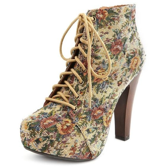 Vintage Floral Lace-Up Heel Bootie ($39) found on Polyvore