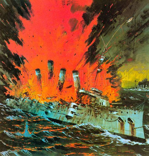 Battle of Coronel, 1 November 1914. The British lost the Good Hope and the Monmouth with all hands, by Graham Coton.