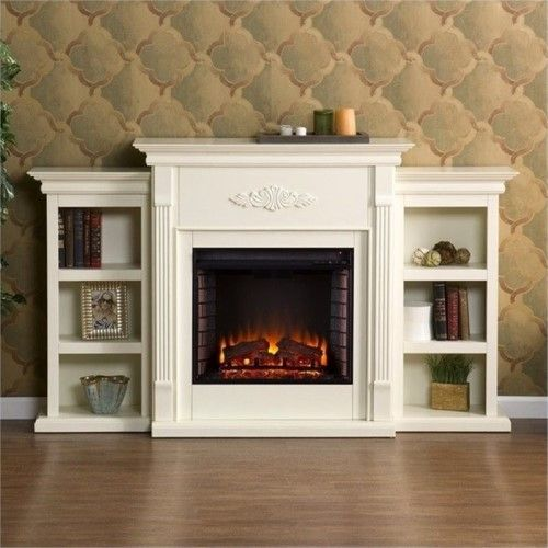 Bowery Hill Electric Fireplace With Bookcases In Ivory Fireplace