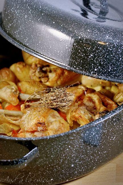 cuisses de poulet au four dans leur roaster plats de. Black Bedroom Furniture Sets. Home Design Ideas