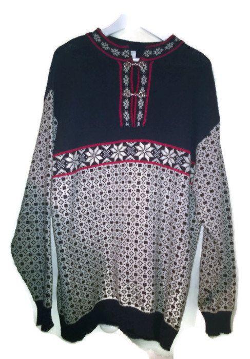 Vintage 80s SweaterNorwegian Wool Pullover 1980s VINTAGE SWEATER unisex L NORWEGIAN sweater Large Men Unisex Wool Metallic buttons by VirtageVintage on Etsy
