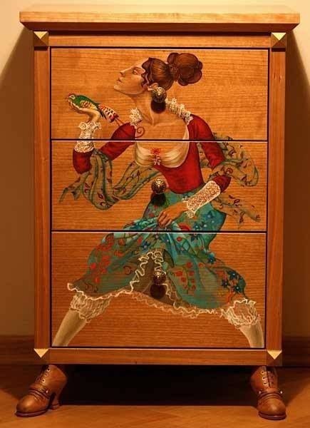 """Painted Dresser with """"feet"""" - Find and use old wooden shoe forms to add feet to any piece of furniture."""