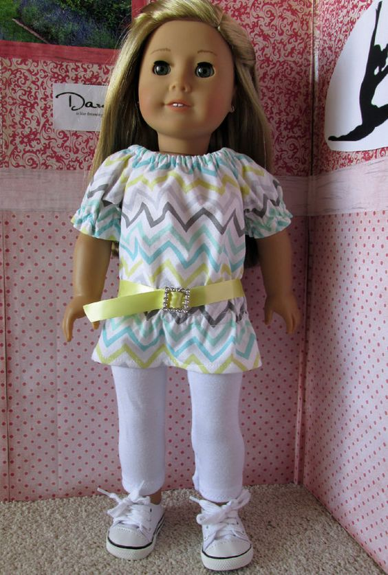 Trendy chevron top and leggings outfit by EverythingNice4Dolls on Etsy. Made with the LJC UK Holiday Outfit pattern. Find it here http://www.pixiefaire.com/products/u-k-holiday-outfit-18-doll-clothes. #pixiefaire #libertyjane #ukholidayoutfit
