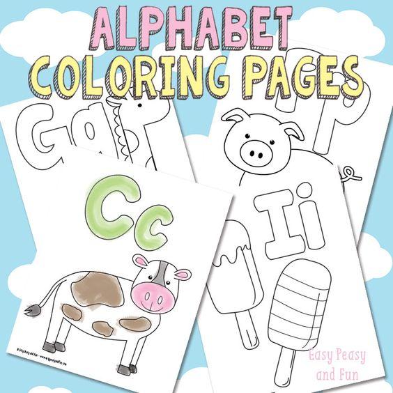 Free Printable Alphabet Coloring Pages | Colorante, Sin estrés y Niño