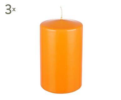 Set de 3 velas de parafina Basic, naranja claro - alto 15 cm