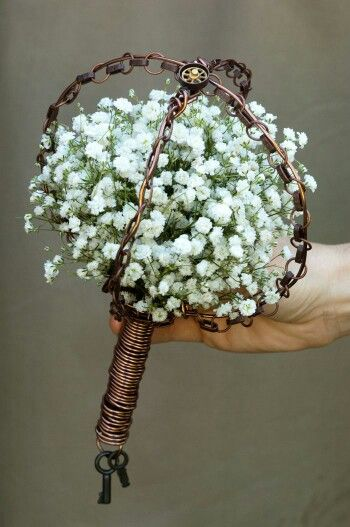 A Wedding Bouquet Featuring White Gypsophila (Baby's Breath) In A Copper Steampunk Bouquet Holder××××