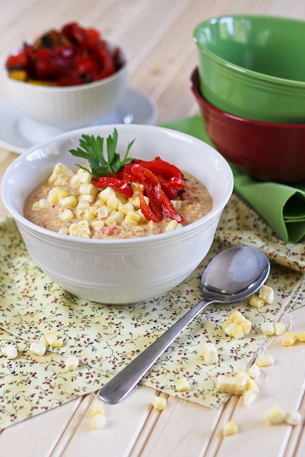 Roasted Bell Pepper and Raw Corn Chowder