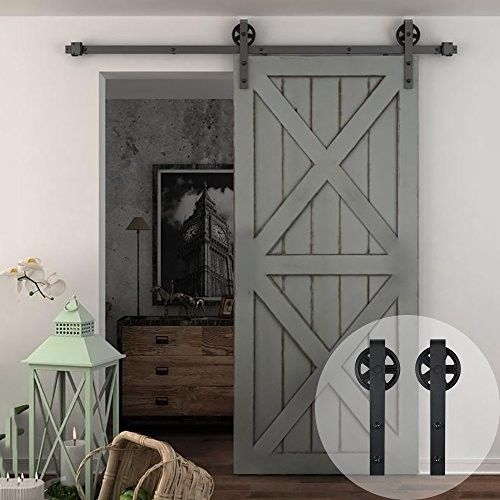 Home Wood Sliding Door 10 Ft Adjustable Rollers Sturdy Wooden Steel Frame Design Barn Door Hardware Barn Door Sliding Barn Door Hardware