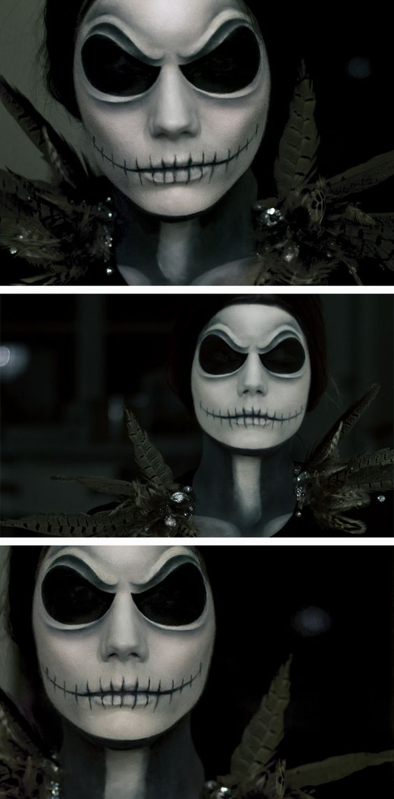 linda hallberg halloween make up as jack skellington from a nightmare before christmas wow. Black Bedroom Furniture Sets. Home Design Ideas