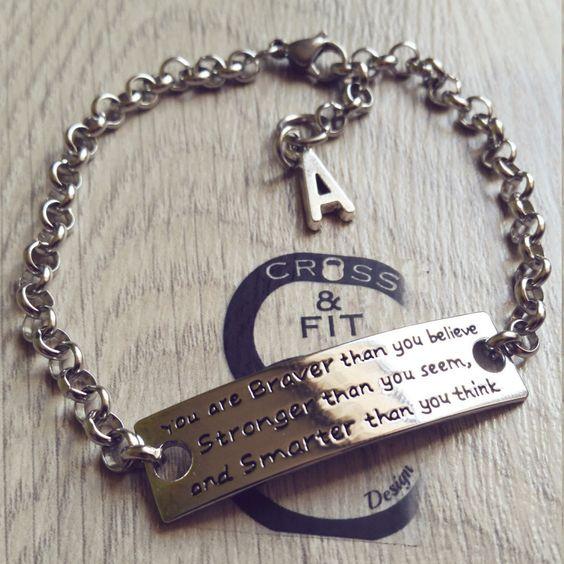 Pulsera Motivacion You are Braver than you believe.. & Initial letter.Bracelet,Crossfit,Fitness,Gym,Personalized Gift,Motivation Wod de CrosseFitDesign en Etsy