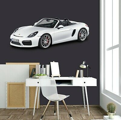 3d White Hood A208 Car Wallpaper Mural Poster Transport Wall