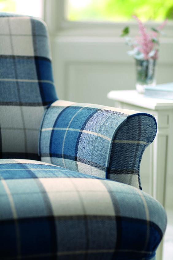 Romo Bonham Blue Plaid Couch Mad About Plaid