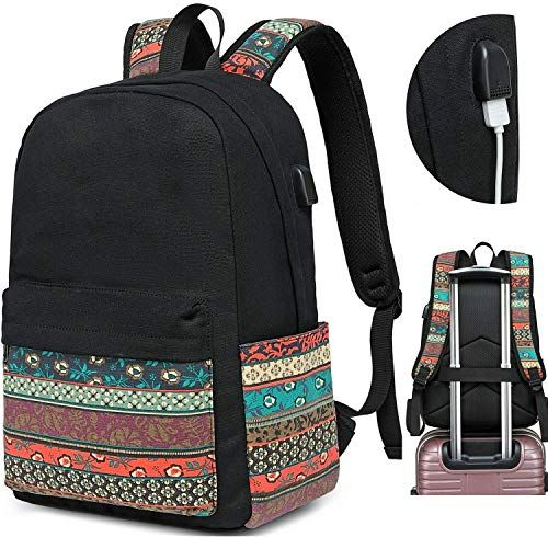 Canvas Travel Laptop Backpacks Womens College Backpack School Bag 15 inch USB