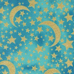 Michael Miller House Designer - Moon and Stars - Moon and Stars in Robin