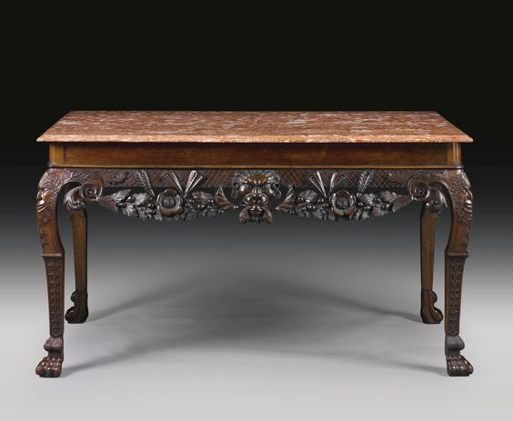 An irish george ii mahogany side table circa 1750 marble for Reduced furniture