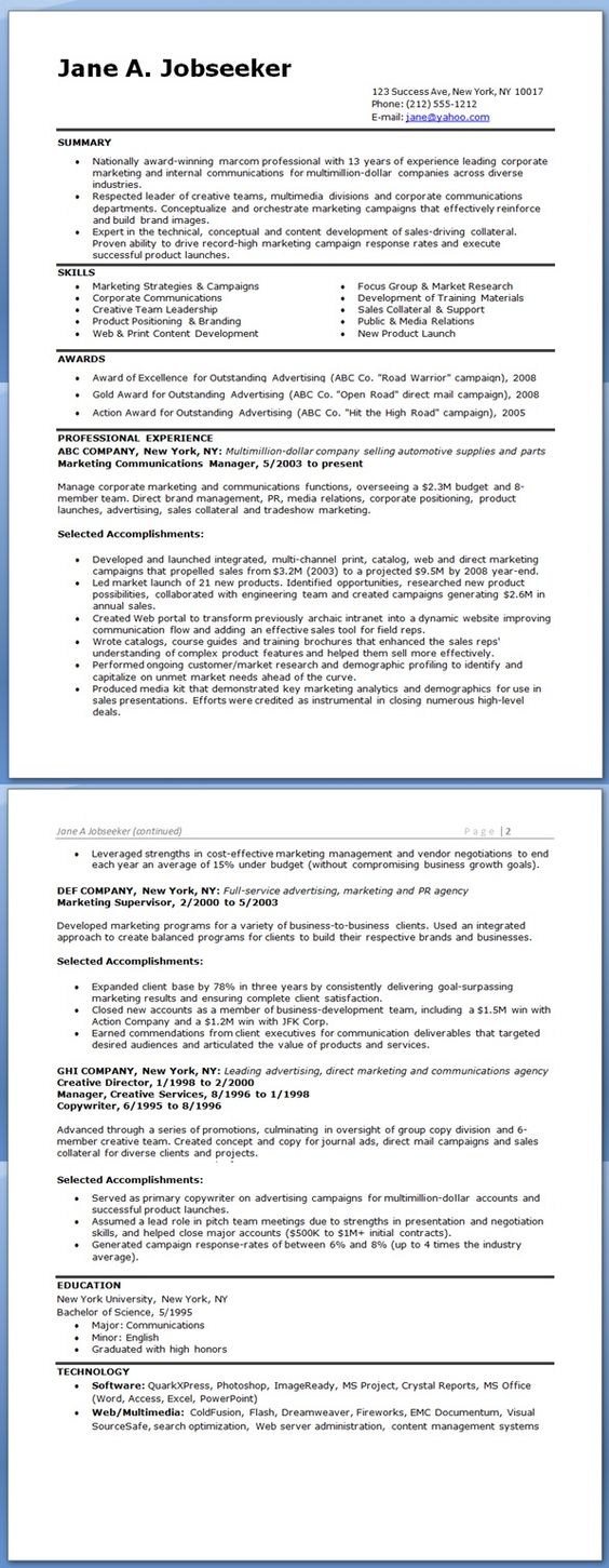 Resume for Marketing Communications Manager