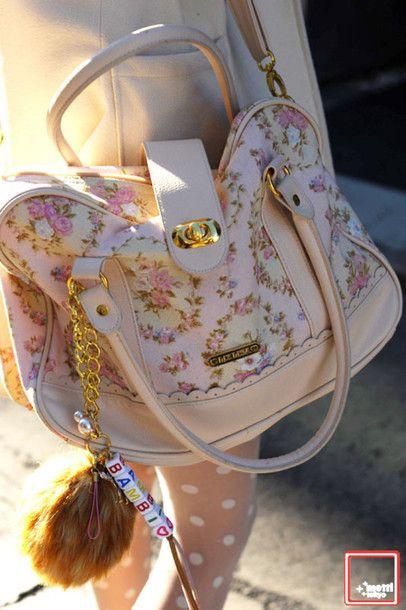 Bag: floral, flowers, pink, pastel, cream, white, gold, tumblr, fur, kitchie, kawaii, cute, handbags - Wheretoget
