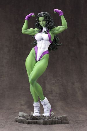 Marvel Bishoujo Statue - She-Hulk. Coming from Kotobukiya. It's The Marvel Bishoujo Statue - She-Hulk. A Kotobukiya Japanese Import! Kotobukiya's lineup of Bishoujo statues based on characters from Marvel Comics continues with none other than She-Hulk! She-Hulk's beautiful and powerful musculature is on display as she flexes in this pose based on an illustration by Shunya Yamashita. This 1/7 scale Bishoujo statue is perfect for display. With her long, flowing hair and purple and…