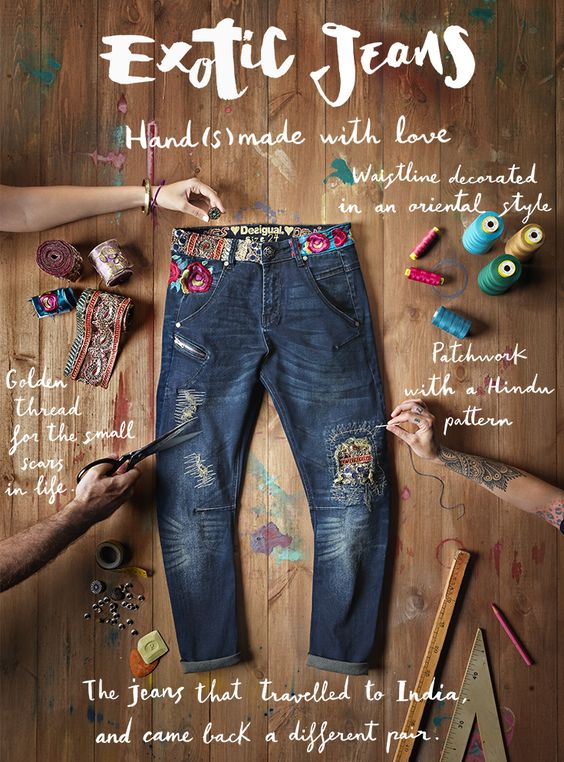 These jeans travelled to India… and came back being completely different. The waistline includes embellisment details and golden threads have been used to design these trousers. One of the things that make them different from the rest are mixes of patches and Indian references.:
