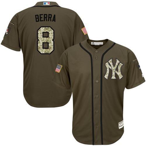 Yankees #8 Yogi Berra Green Salute to Service Stitched MLB Jersey ...