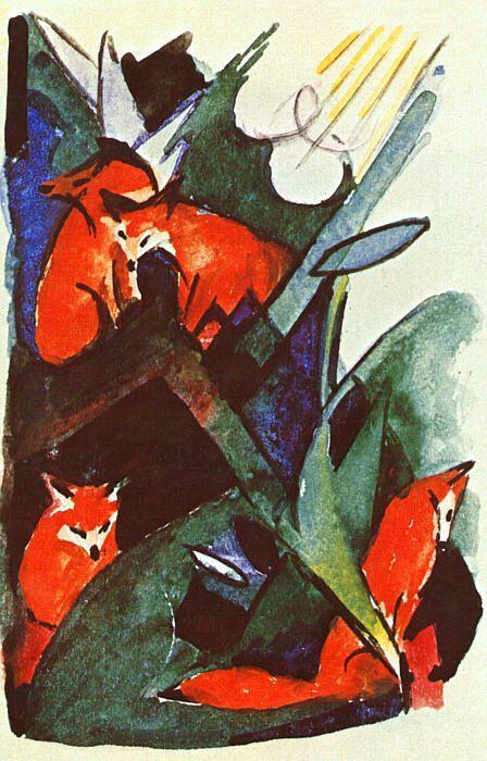 FRANZ MARC. Four Foxes, 1913: Paintings Franz Marc, Art Paintings, Artist Franz Marc, Franzmarc Org, Foxes Franz, Artists Franz Marc, Artist Marc Franz, Art Franz Marc