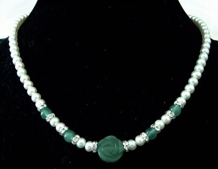 "17"" 7-8mm white freshwater pearl necklace jade pendant"