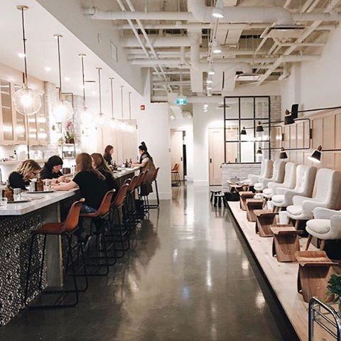 distilled_beautybaryyc instagram 239 nail bar pinterest beauty bar polished concrete flooring and salons - Nail Salon Design Ideas