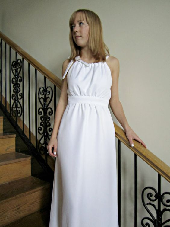 Grecian Inspired Wedding Gown long white wedding by StitchPrincess, $150.00