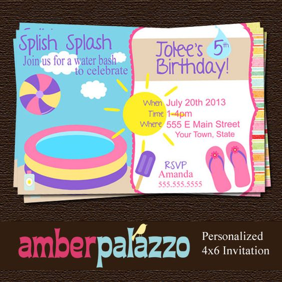 Pool Party Birthday Invitation- Printable - Personalized on Etsy, $7.50