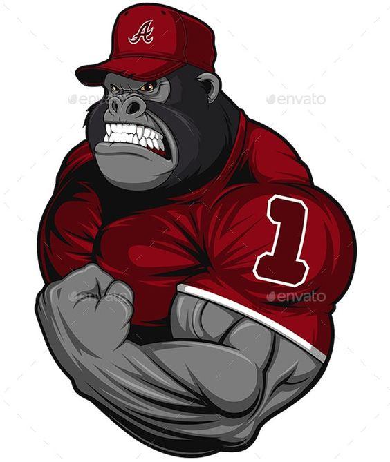 Terrible Gorilla Athlete Sports Activity Conceptual In 2020 Monkey Art Gym Art Gorillas Art