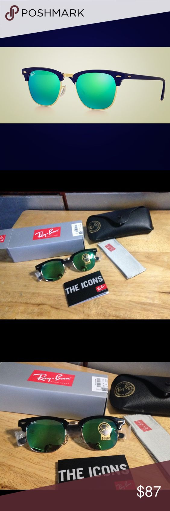New Rayban clubmaster 3016 green reflective Brand new! It comes with original box, cloth, leather case, and booklet. 51 mm is the size. Please message me if you are interested. No trades please! These are brand new and the price is logical. But feel free to make an offer. Thanks :) Ray-Ban Accessories Sunglasses