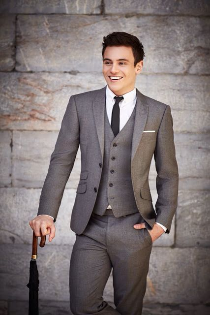Mens street style fashion: three 3 piece grey suit: trouser pants