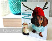 SET of 5 Tidings of Cheer and Good Fun Dachshund Christmas Hanukkah Holiday Card