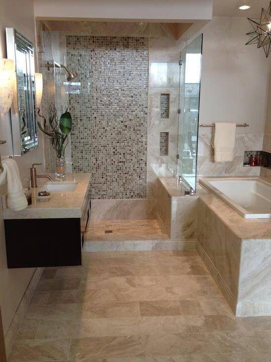 Ba o combinando baldosas y piedra ideas para el hogar for Accesorios bano piedra