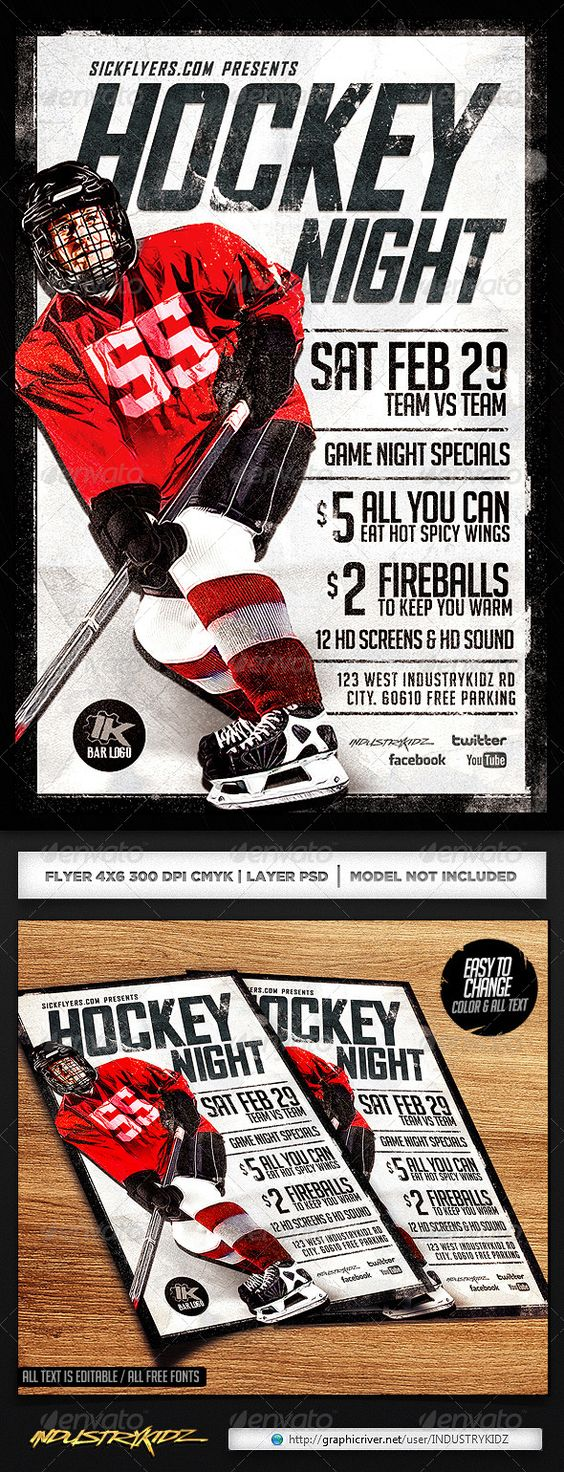 hockey games flyer template and game night on pinterest. Black Bedroom Furniture Sets. Home Design Ideas