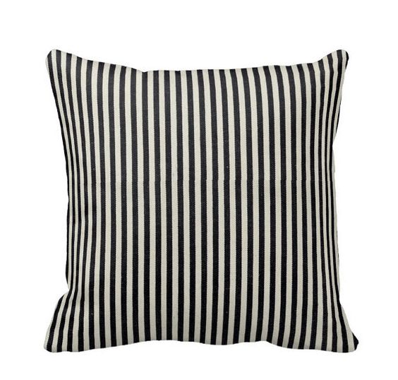 Railroad Ticking Stripe Denim Throw Pillow by PrimalVogueHomeDecor