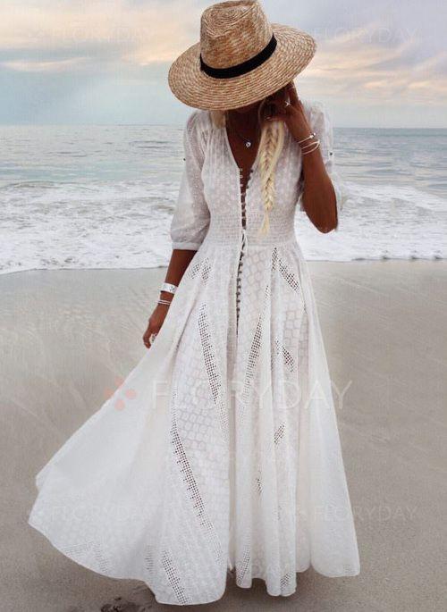 Solid V Neckline 34 Sleeves Maxi A Line Dress Floryday En