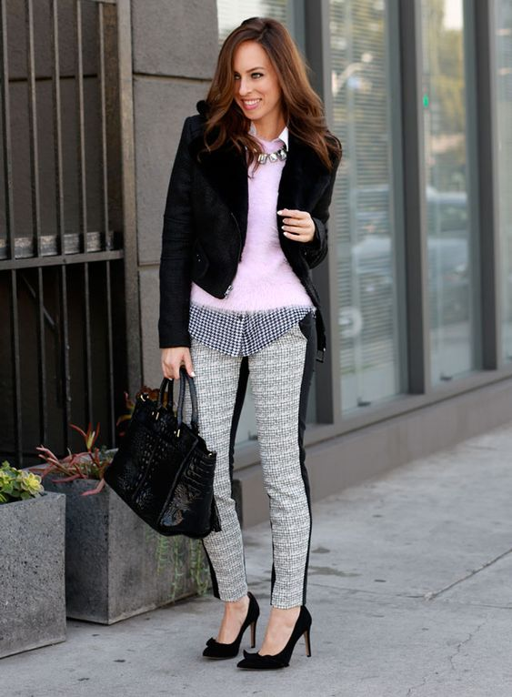 Sydne Style-pink fuzzy sweater topshop, black and white mixed prints, how to layer bebe fur jacket faux fur