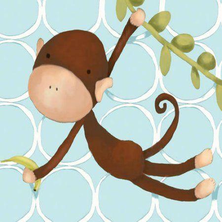 Oopsy Daisy's Hanging Monkey Blue Canvas Wall Art, 10x10