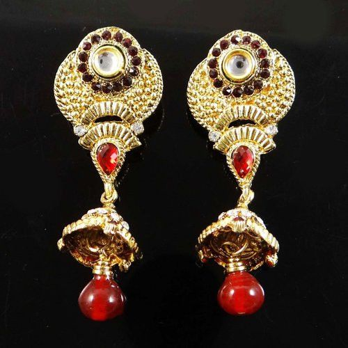 Bollywood Women Earring Set Maroon CZ Stone Goldtone Bridesmaid Gift Jewelry -BSE4961A