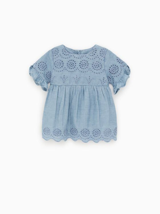 Zara Kids Cutwork Denim Dress Modestil Elegantes Weisses Kleid Musselin Kleid