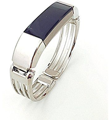 BSI Silver Metal Bracelet For Fitbit Alta Fitness Tracker Unique Design Medium Size 6-7 inches