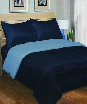 Love this Blue & Navy Reversible Comforter by Beatrice Home on #zulily! #zulilyfinds